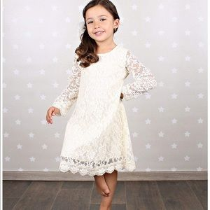 Other - Short Lace Flower Girl Dress w/Illusion Sleeves